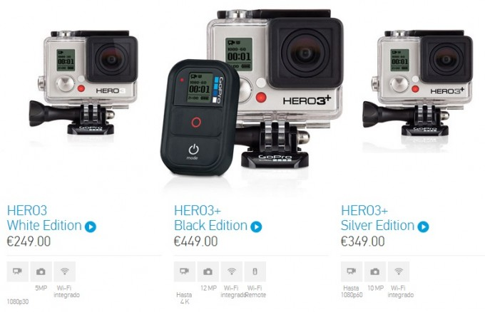 GoPro Hero3+ models