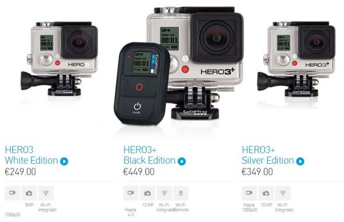 GoPro Hero3+ models