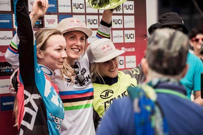 World Cup DH Lenzerheide 2016 podium Women