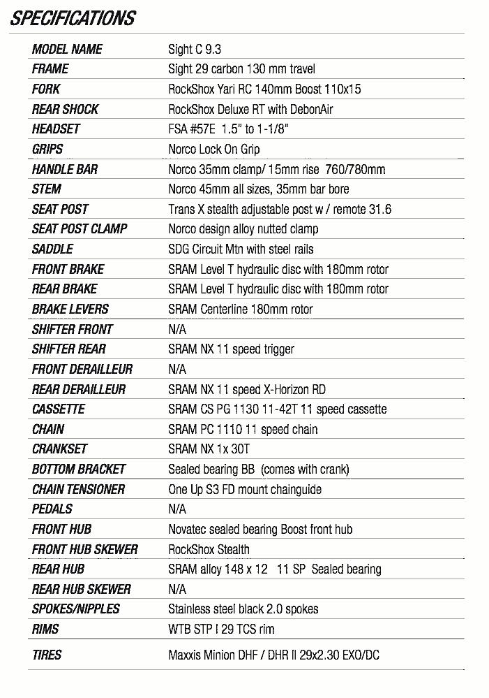 norco sight c9.3 2017 specs