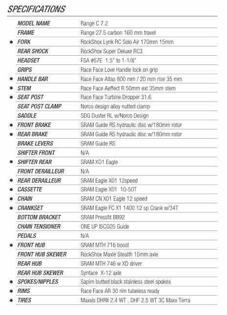 Norco Range Carbon C7.2 2017 specs