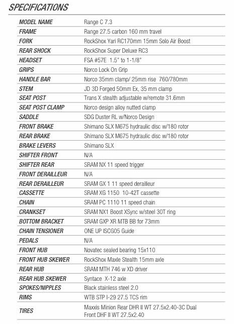 Norco Range Carbon C7.3 2017 specs