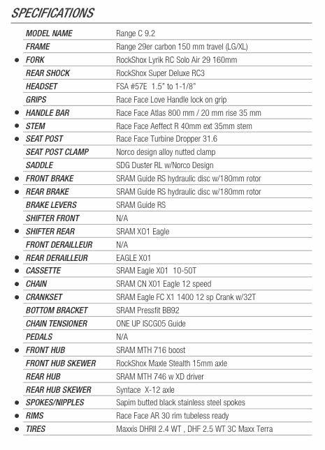 Norco Range Carbon C9.2 2017 specs