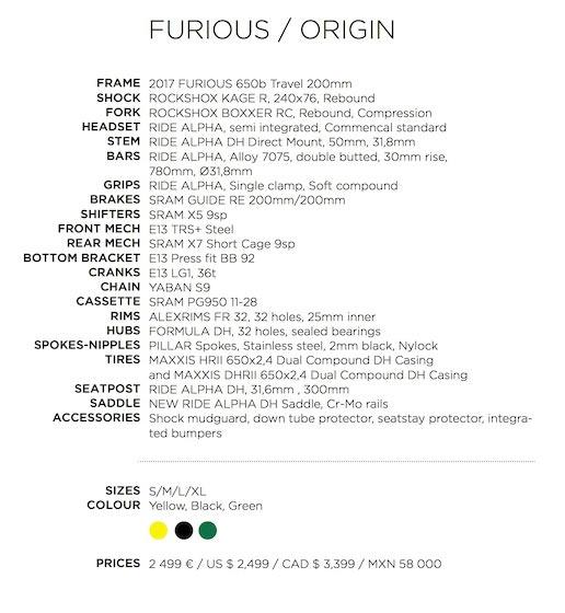 Commencal Furious Origin Specs