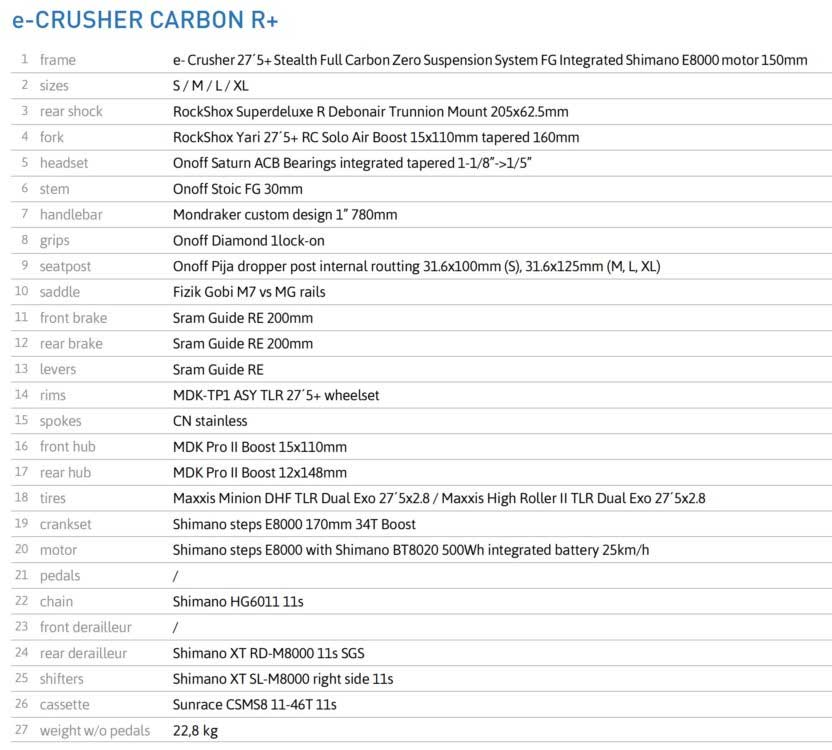 Mondraker E-Crusher Carbon R+ specs