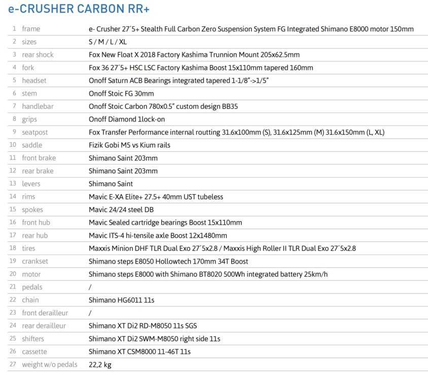 Mondraker E-Crusher Carbon RR+ especs