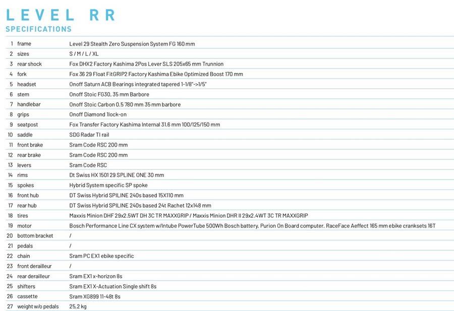 Mondraker Level RR specs